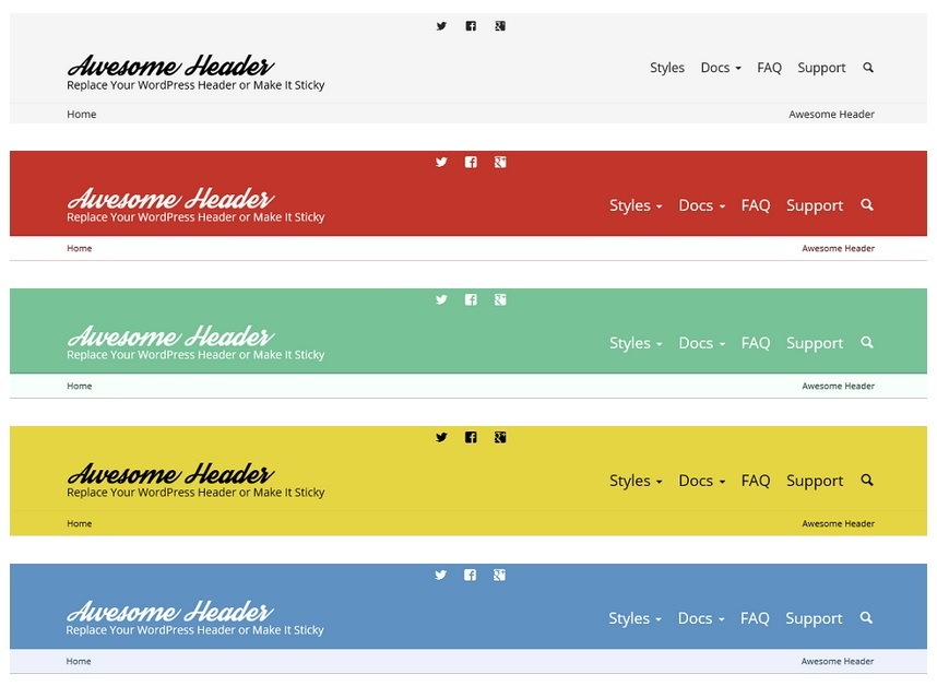 Unlimited color options for WordPress header